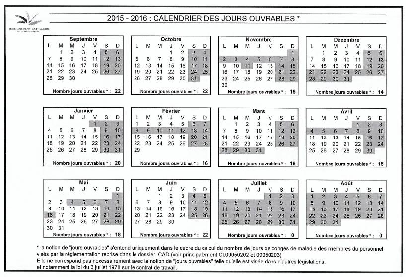 Calendrier Scolaire 2015 2016 News Ecole Libre De Fraire